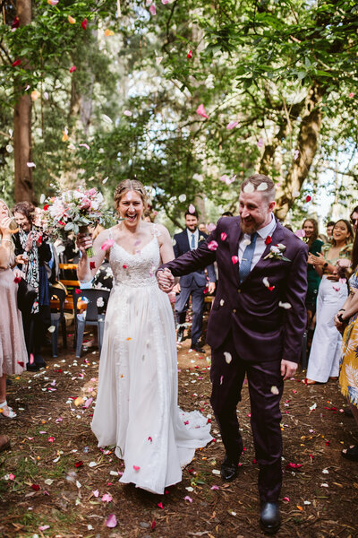 A candid wedding photography in Ferny Creek Recreational Reserve by Belle Martin.