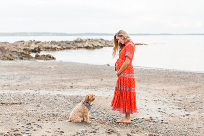 maternity session on a beach in Boston
