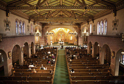 Inside-of-Saint-Catherine-of-Siena-Catholic-Church-During-Wedding-Ceremony-in-Denver CO