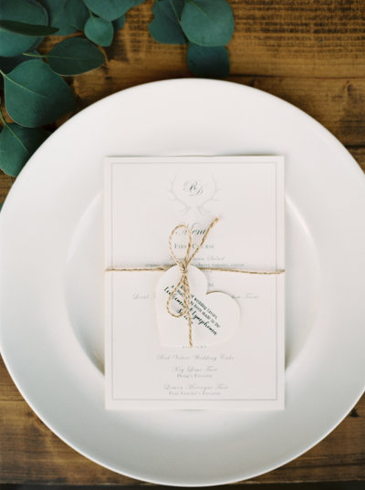 Place Setting with Menu for Rainbow Ranch Wedding in Montana