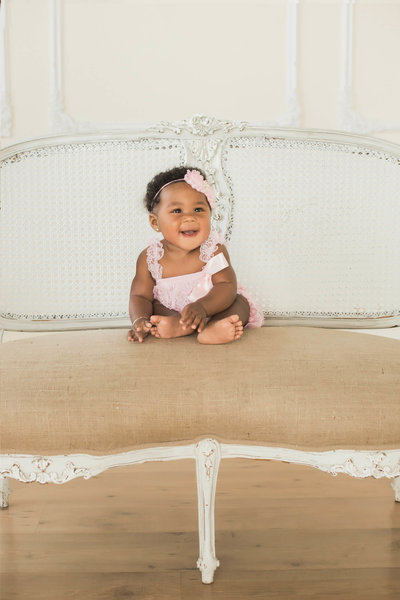 indoor baby girl six month session