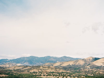 Gorgeous view over the Santa Barbara Mountains on film by destination wedding photographer