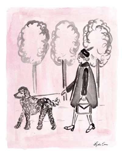 pink and black girl walking poodle watercolor