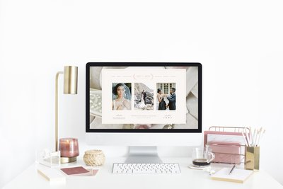 Blush and White Design House Website Mockup -iMac