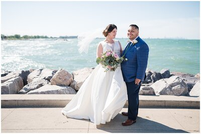 Bride and Groom portrait at Whiting Lakefront Park in Indiana