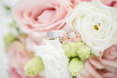 Rose Gold and Silver Wedding Rings and Pink Wedding Flowers