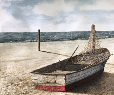 Low Tide Watercolor Painting by Chattanooga Artist Alan Shuptrine