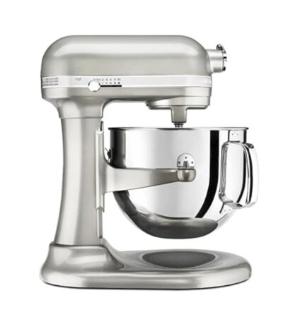 Kitchen Aid mixer in silver
