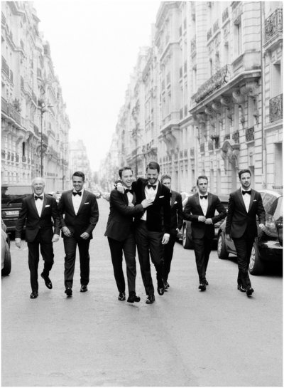 groom and groomsman in Paris