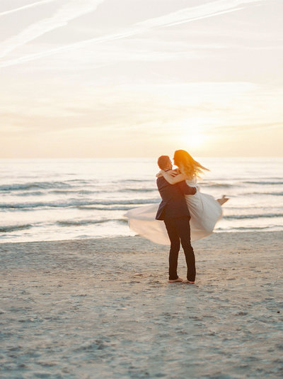 Golden hour and sunset shoot with bride and groom