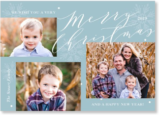 blue snowflake holiday photo card