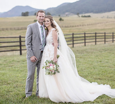 bride and groom in love Colorado  wedding photographer