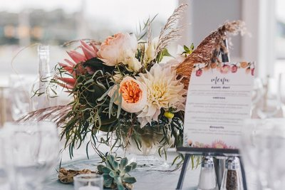Wedding table centerpiece and menu