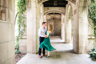 Joyful engagement session in Downtown Chicago