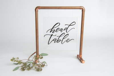 Clear Acrylic/Copper Head Table Sign