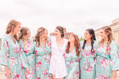 A bride and her bridesmaids before her wedding in Washington D.C. by Jennifer Marie Studios.