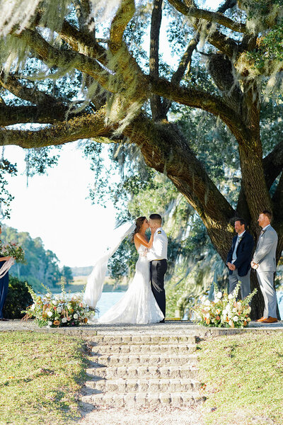 Middleton Place wedding ceremony under a grand live oak in the Octagonal Garden