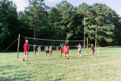 Group event or corporate party game of volley ball on the Callidora Ranch property