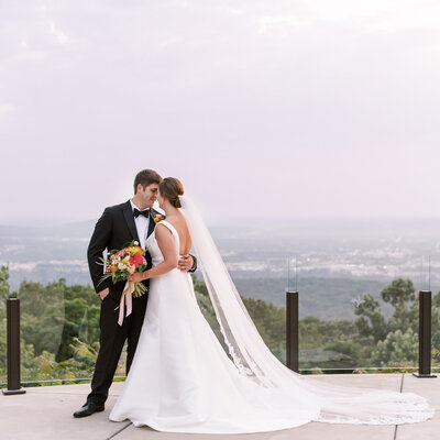 Bride and Groom at sunset on the view in huntsville alabama
