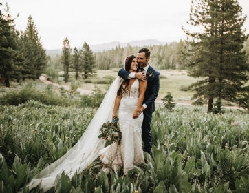 Joyful Lake Tahoe Wedding Planners couple standing in meadow laughing,  wedding at venue Mitchell's Mountain Meadows Sierraville near Truckee, Joy of Life Events image by Lukas Korynta