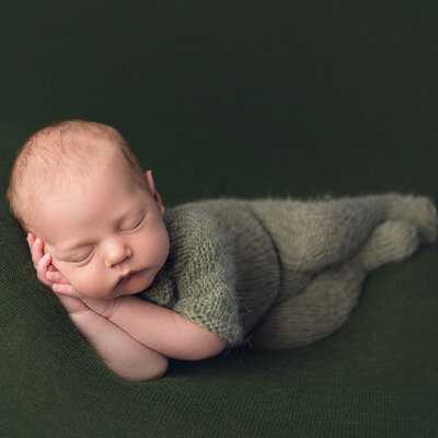 In-studio portrait of newborn sleeping, green props