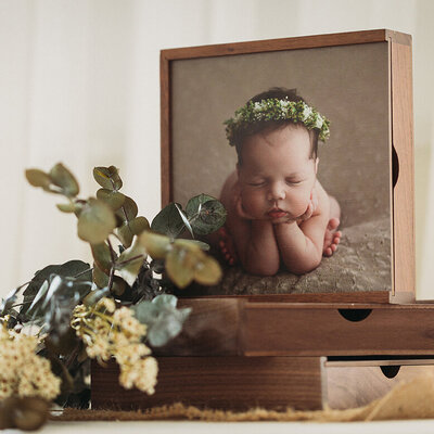Wooden Photo Box featuring professional newborn photography