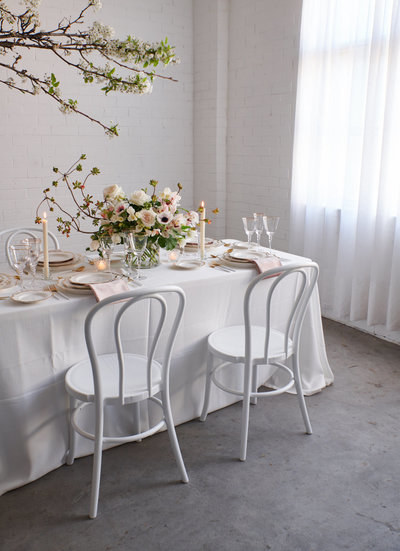 White and pink wedding table inspiration