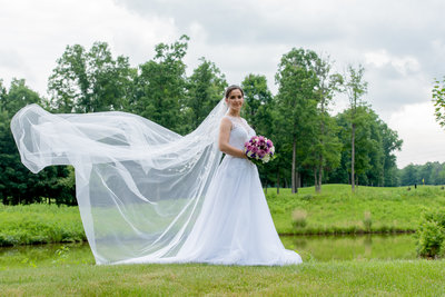 Wedding Photographer capturing Brides  at Westfields Golf Club