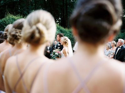 Bridal party ceremony point of view photo  of the bride and groom at outdoor garden wedding venue in Mexico
