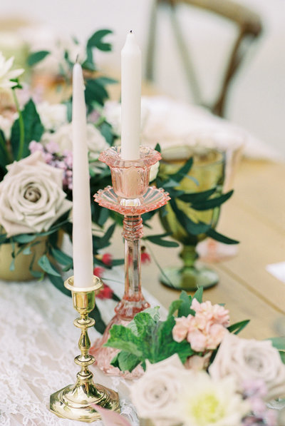 Wedding details, Gold and pink candle holders, Fine art photography, Floral centerpiece with greenery, pinks, creams, white, and blush.  Wedding in Virginia photographed by Bakersfield wedding photographer Marianne Lucas
