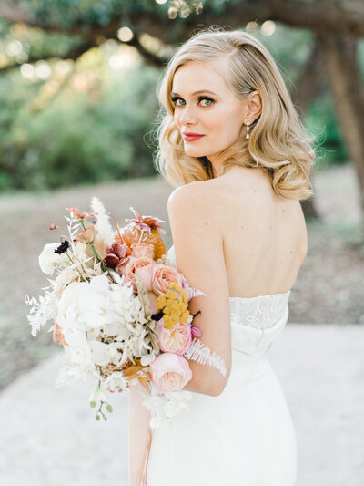 Bridal portrait in strapless dress