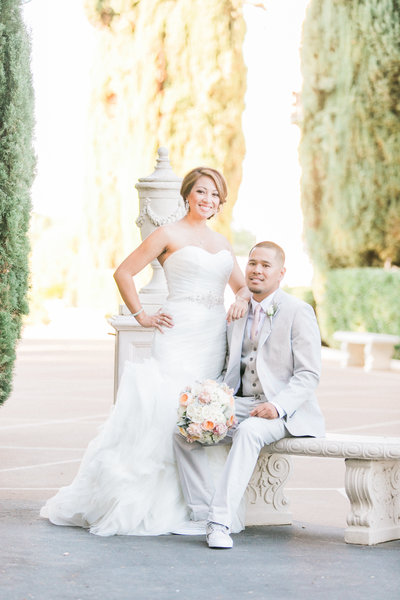 Luxurious outdoor wedding venue, Grand Island Mansion, Sacramento - bridal portrait by Wedding Photographers, Evonne & Darren