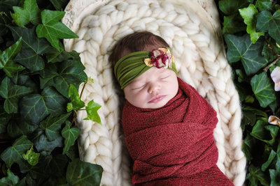 Beautiful Mississippi Newborn Photography: Baby girl in ivy bed with floral headband