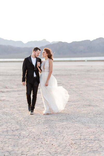 Couple Kissing Las Vegas desert