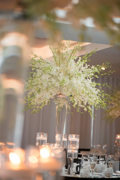 White flower wedding centerpiece at Harbor Club at Prime