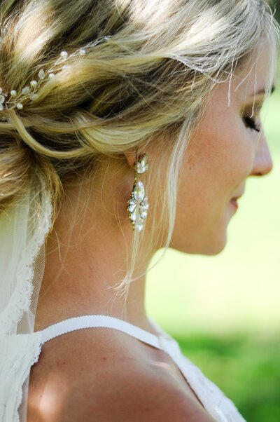 detailed photo of bride's accessories