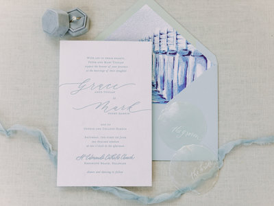 Custom calligraphy wedding invitation in gray ink