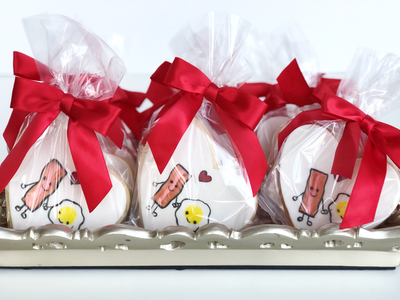 Whippt Desserts - Valentines Egg & Bacon Cookies packaged