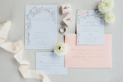 Peach and Green Floral Wedding Invitations