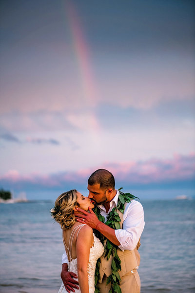 Rainbow appears for a sunset at Baby Beach in Lahaina wedding