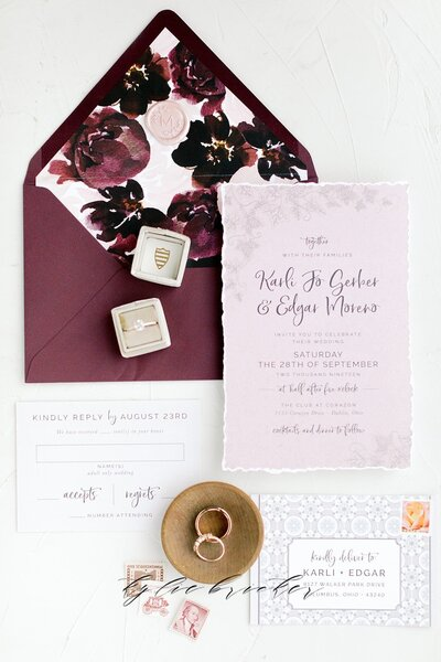 burgundy and dusty pink wedding invitation for tuscan wedding