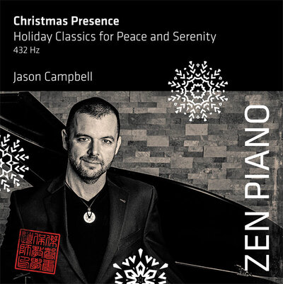 Album Title Christmas Presence Holiday Classics for Peace and Serenity Jason Camobell standing by grand piano black and white image