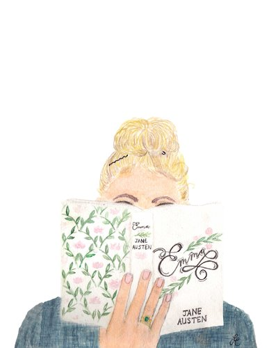 girl reading emma by jane austen watercolor