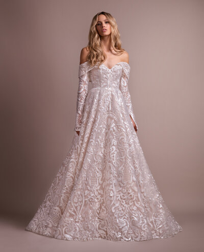 Hayley Paige Bridal gown - Ivory Luxembourg long sleeve ball gown, sweetheart neckline and removable off-the-shoulder sleeves, full ball gown skirt with cashmere lining.