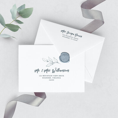 Wedding envelope with printed dusty blue floral design