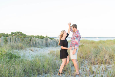 Engagement session on beach in Newport, Rhode Island