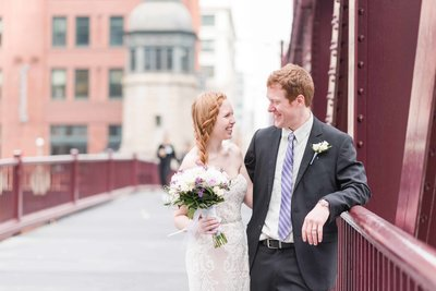 Red Head Bride and Groom Wedding day portrait