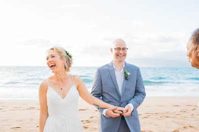 Beach elopement full of lots of laughter by Mariah Milan