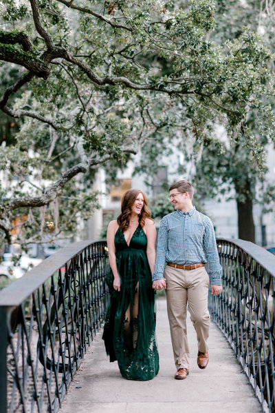 Engagement session downtown savannah factors walk