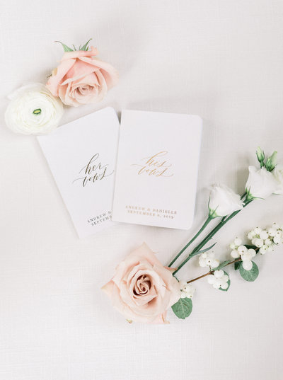 His and Hers Vow Books at the Ryland Inn
